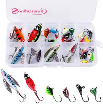 7. Sougayilang Ice Fishing Jigs with Treble Hook Jig Heads Fishing Lures