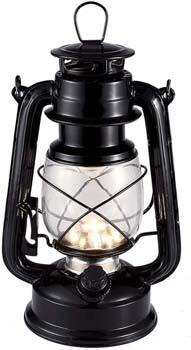 4. Vintage LED Hurricane Lantern, Warm White Battery Operated Lantern, Antique Metal Hanging Lantern with Dimmer Switch