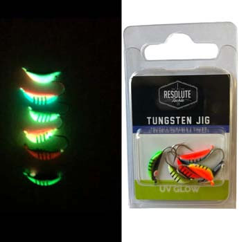 6. Resolute Tackle 6-pack Tungsten Scud Fishing Jig - UV Glow - Panfish - Ice Fishing
