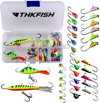 4. THKFISH 31Pcs/Box Ice Fishing Jigs Head Lure Hard Baits