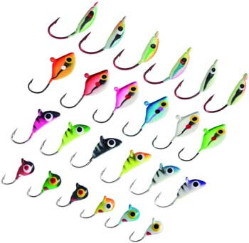 1. Bassdash Ice Fishing Lure Kit Glowing Paint Jigs