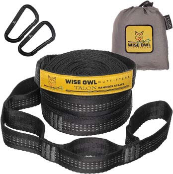 6. Wise Owl Outfitters XL Hammock Straps Combined 20 Ft Long, 38 Loops