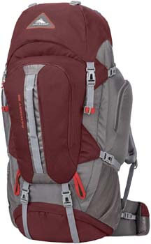 2. High Sierra Pathway Internal Frame Hiking Pack, Cranberry/Slate/Redrock, 90L