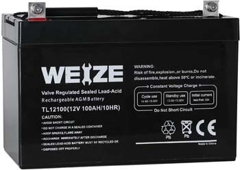 7. Weize 12V 100AH Deep Cycle AGM SLA VRLA Battery