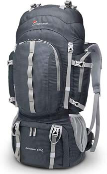 9. Mountaintop 60 Liter Hiking Internal Frame Backpack with Rain Cover