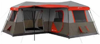 1. Ozark Trail 16x16-Feet 12-Person 3 Room Instant Cabin Tent with Pre-Attached Poles