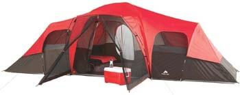 5. OZARK Trail Family Cabin Tent (Red/Black, 10 Person)