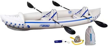 5. Sea Eagle 370 Pro 3 Person Inflatable Portable Sport Kayak Canoe Boat w/ Paddles