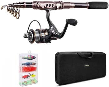 3. PLUSINNO Fishing Rod and Reel Combos Carbon Fiber Telescopic Fishing Rod