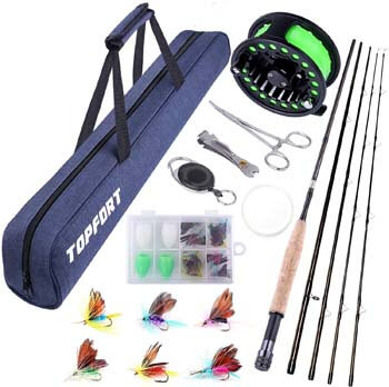9. TOPFORT Fly Fishing Rod and Reel Combo