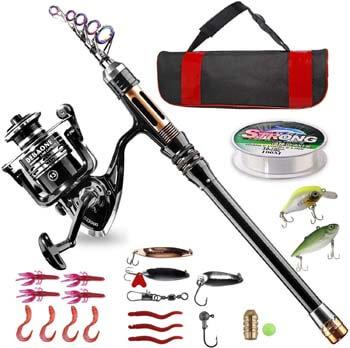 1. BlueFire Fishing Rod Kit, Carbon Fiber Telescopic Fishing Pole