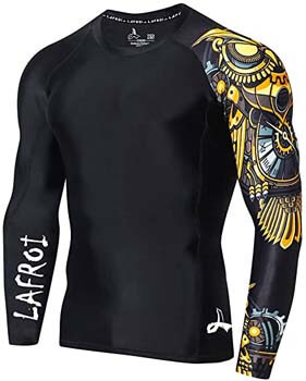 8. LAFROI Men's Long Sleeve UPF 50+ Baselayer Skins Performance Fit Compression Rash Guard-CLYYB
